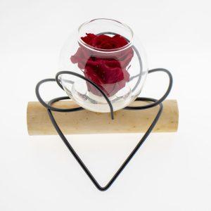 Rose éternelle rouge double-cœur