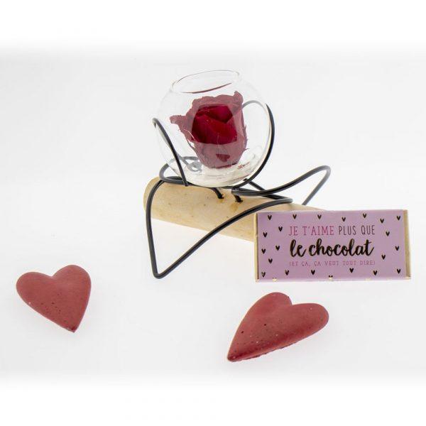Rose éternelle rouge double-cœur & gourmandises