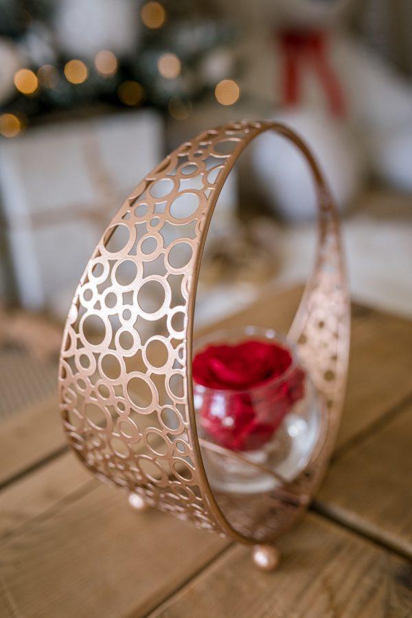 Rose éternelle rouge tourbillon cuivré