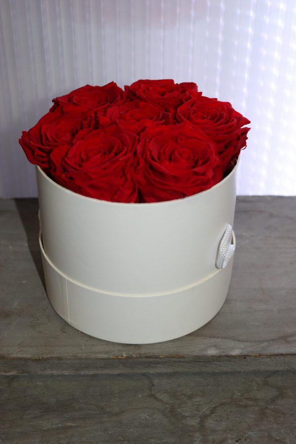 7 Roses éternelles rouge en boîte à chapeau