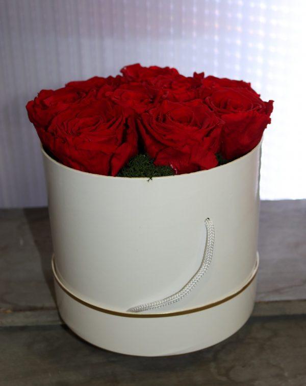 9 Roses éternelles rouge en boite à chapeau