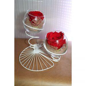 Duo Rose éternelle rouge éole blanche toile de jute