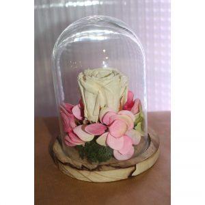 Rose éternelle blanche sous cloche décors rosé support bois