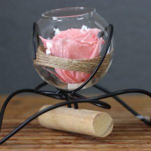 Rose éternelle double coeur rose tendre toile de jute